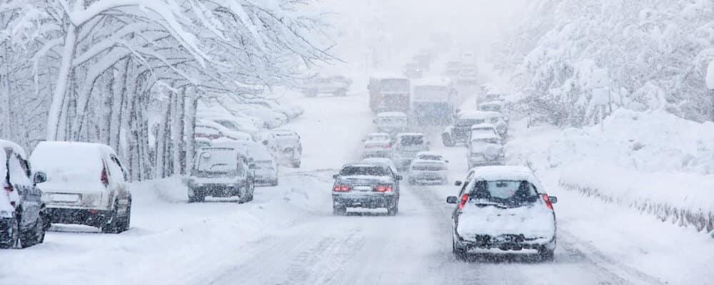 car traffic in snowstorm