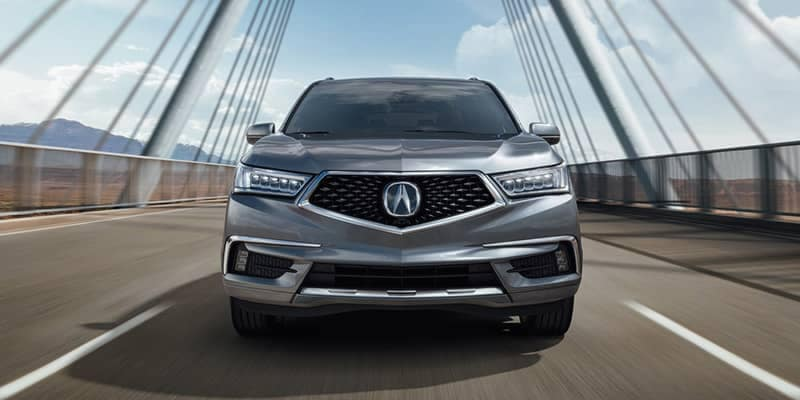2019 Acura MDX Driving Over a Bridge Front End View