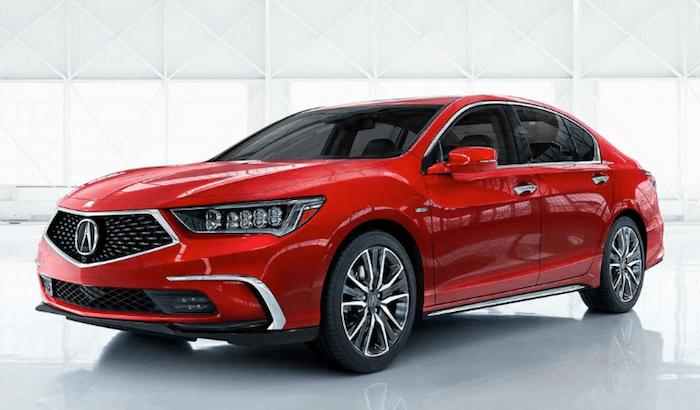 2019 Acura RLX sedan red in Acura showroom
