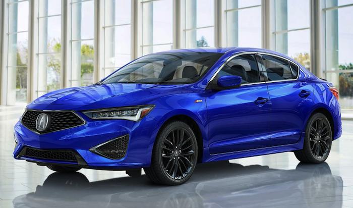 2019 Acura ILX blue car in Acura showroom