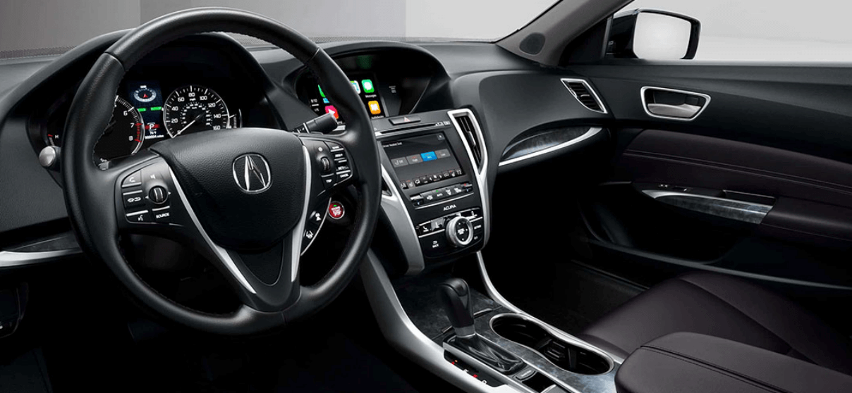 2020 Acura TLX interior dashboard and steering wheel