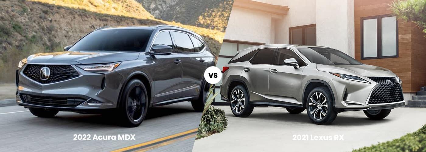Grey 2022 Acura MDX vs  Grey 2021 Lexus RX