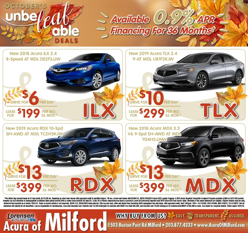 Weekly Ad Vehicle Lease And Sale Offers Acura Of Milford - Acura suv lease