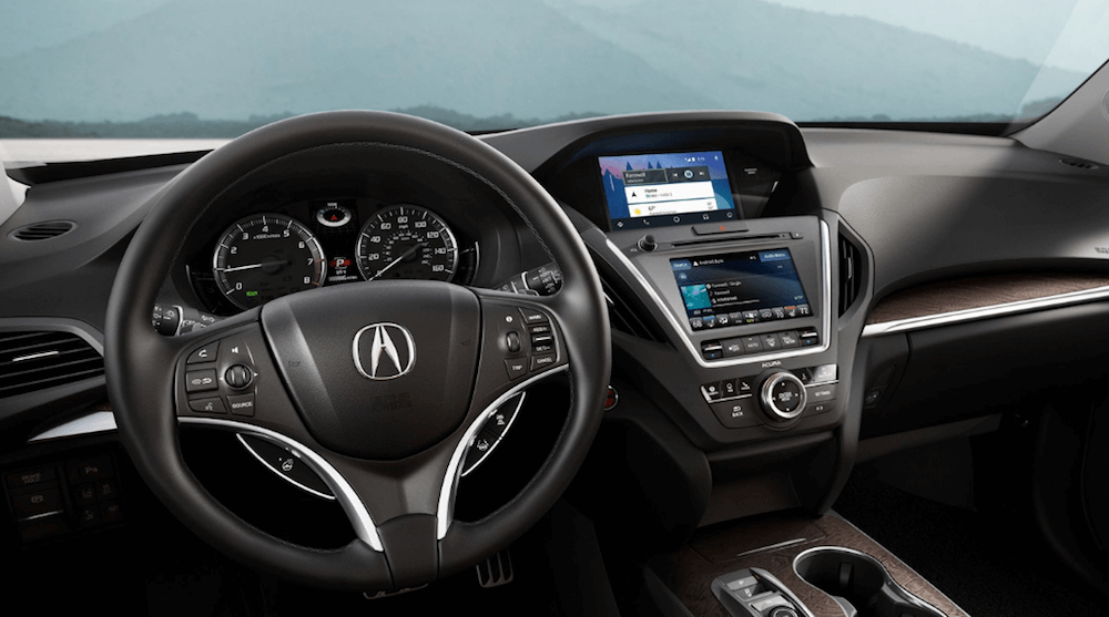 2019 Acura MDX interior dashboard and steering wheel