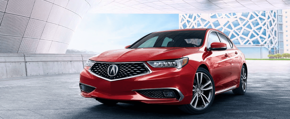 red 2019 Acura TLX in garage