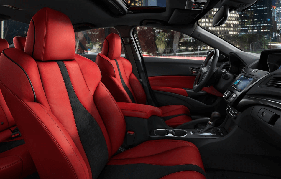 Acura ILX interior with red upholstery