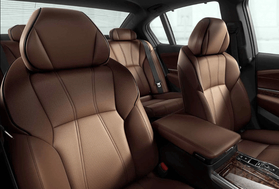 Acura RLX interior with brown upholstery