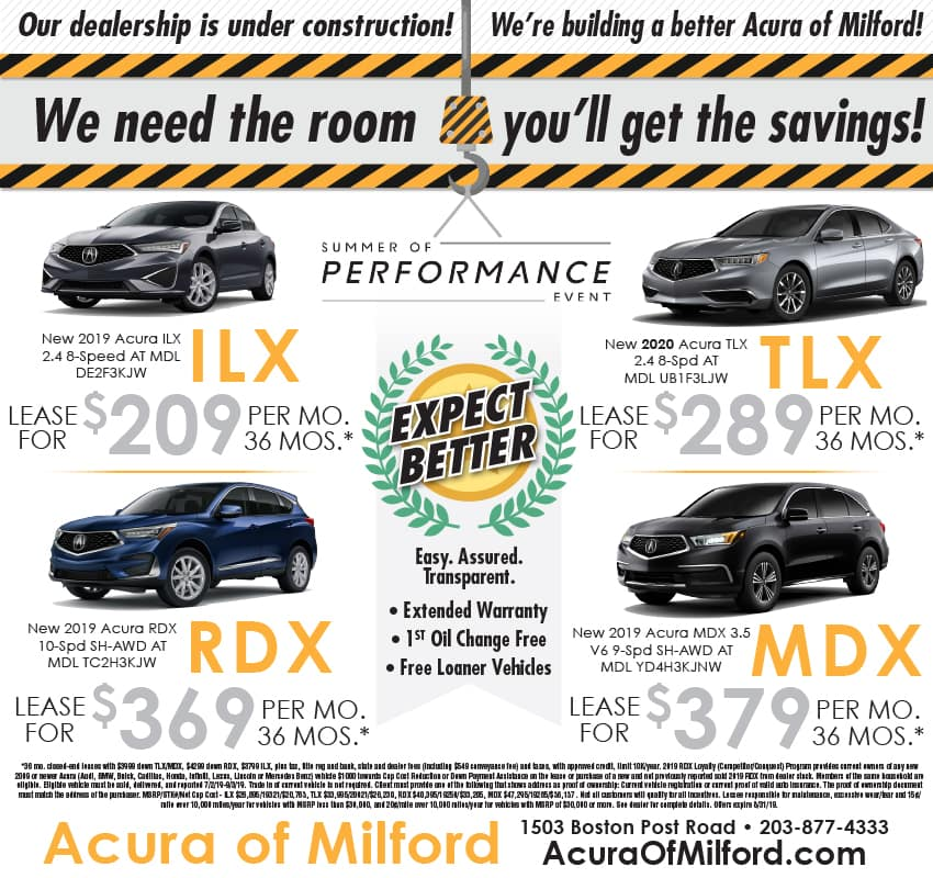 Acura Lease Deals >> Weekly Ad Vehicle Lease And Sale Offers Acura Of Milford