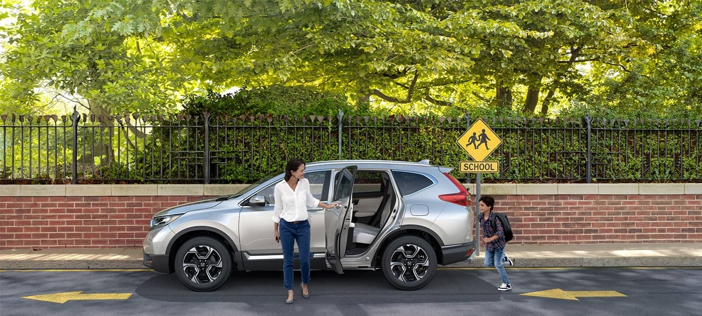 Family exiting CR-V