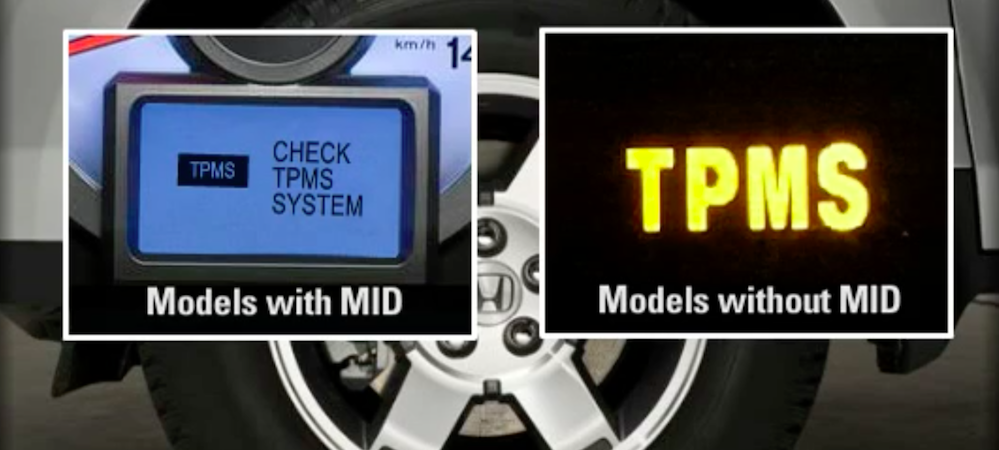 TPMS lights shown for older and newer Honda models