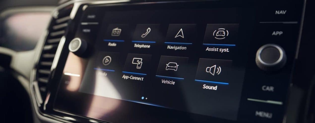 A closeup shows the infotainment screen in a 2021 Volkswagen Atlas Cross Sport.