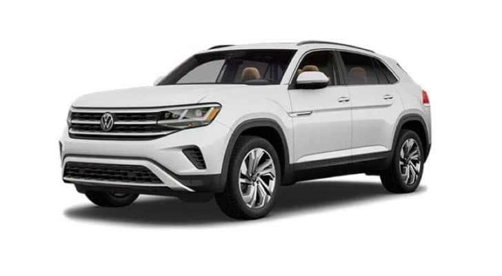 A white 2021 Volkswagen Atlas Cross Sport is angled left.