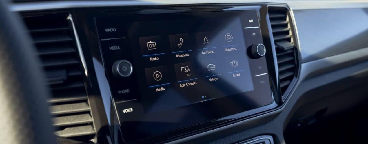 A closeup shows the infotainment screen in a 2021 Volkswagen Atlas.