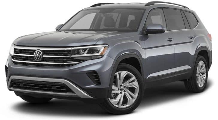A gray 2021 Volkswagen Atlas is angled left.
