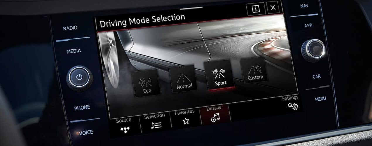 A close up shows the driving mode selection screen in a 2021 Volkswagen Jetta.