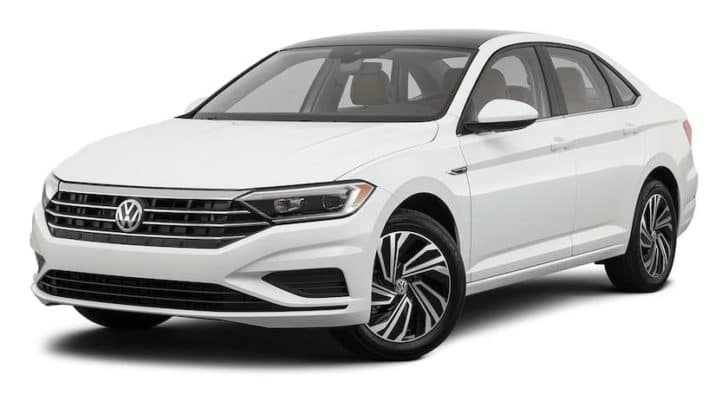 A white 2021 Volkswagen Jetta is angled left.