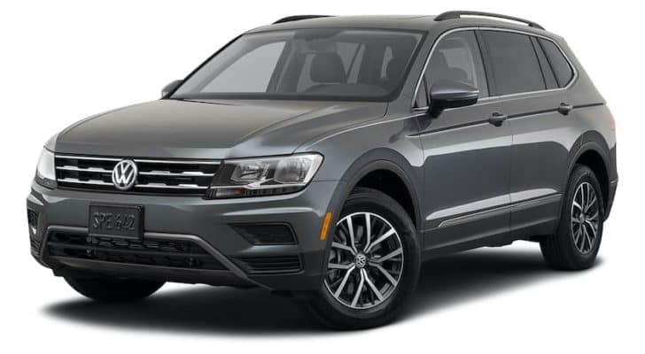 A gray 2021 Volkswagen Tiguan is angled left.
