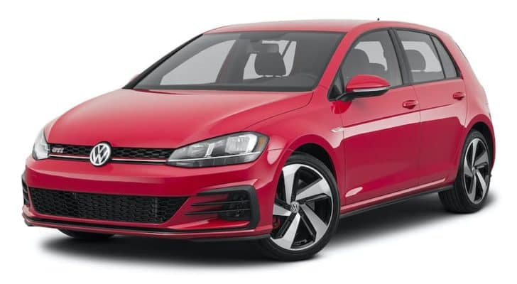 A red 2021 Volkswagen Golf GTI S is angled left.