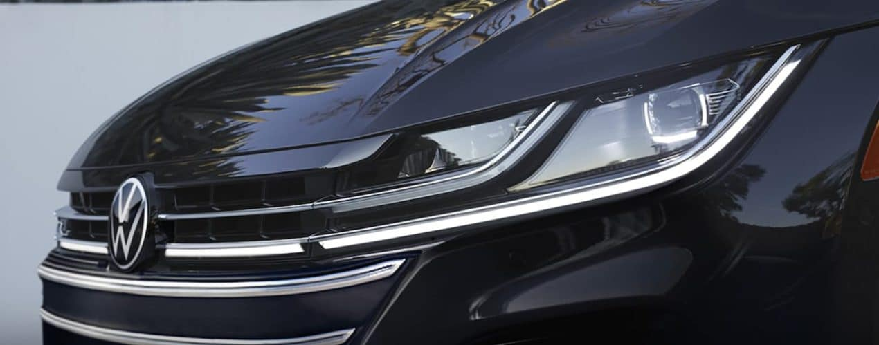 A close up shows a black 2021 Volkswagen Arteon from the front.