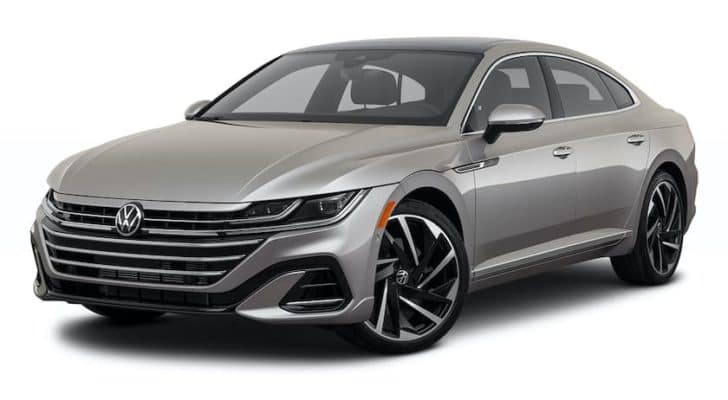 A silver 2021 Volkswagen Arteon is shown angled left.
