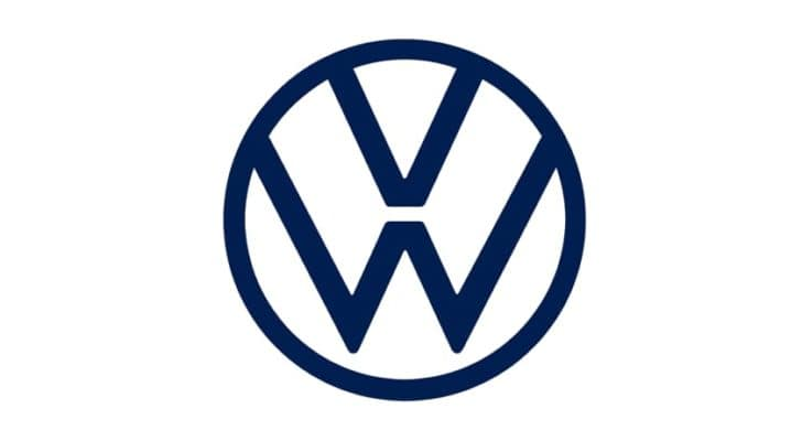 A blue Volkswagen emblem is shown on a white background, the 2022 Volkswagen Golf GTI is coming soon.
