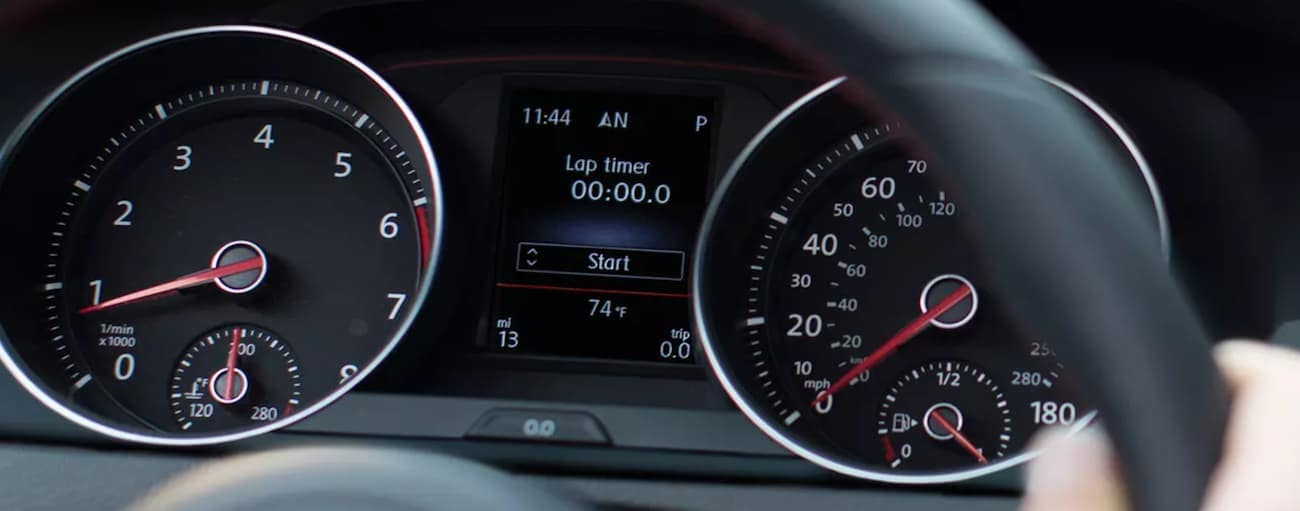 A close up shows a feature on the 2021 Volkswagen Golf GTI.