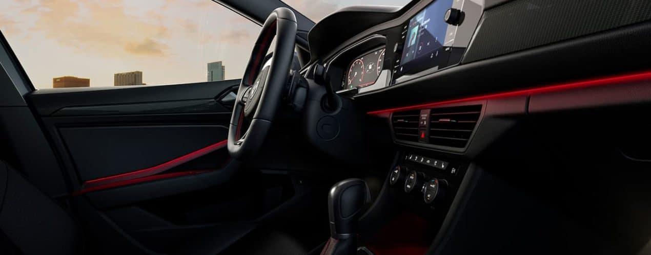 The black and red dash is shown in a 2021 Volkswagen Jetta GLI.