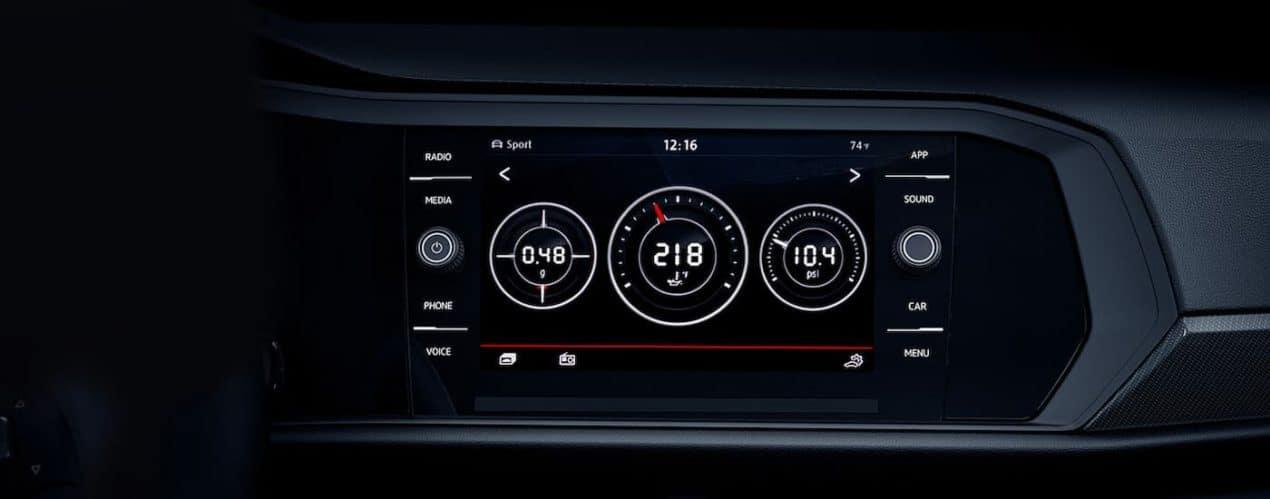 Performance gauges are shown in a 2021 Volkswagen Jetta GLI.