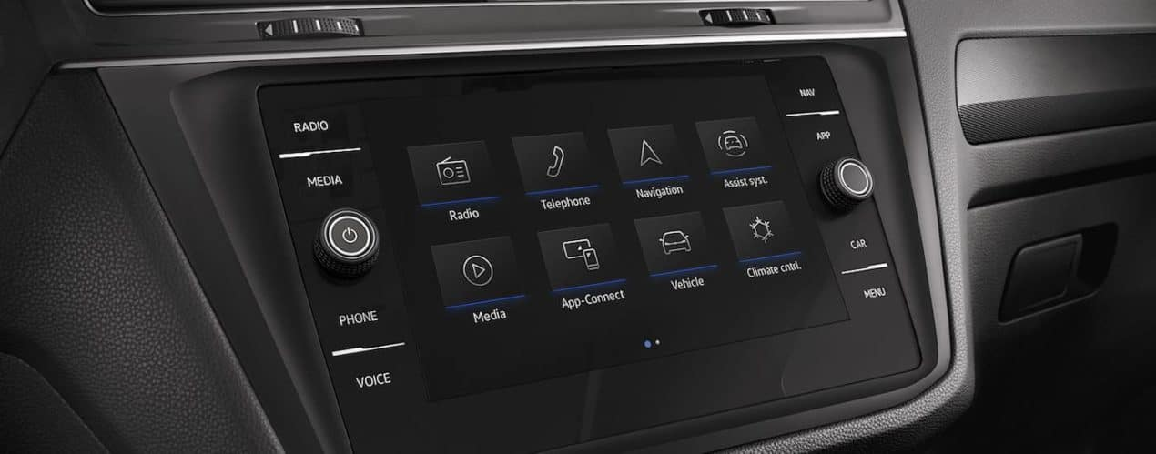 A close up shows the infotainment screen in a 2021 Volkswagen Tiguan.