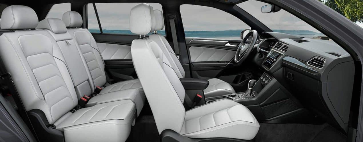 The white interior seats are shown in a 2021 Volkswagen Tiguan SEL Premium R-Line.