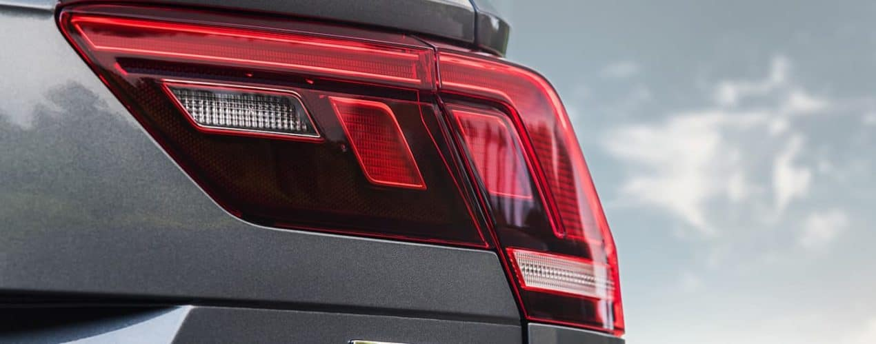 A close up shows the LED taillight on a grey 2021 Volkswagen Tiguan, similar to the 2022 Volkswagen Tiguan.
