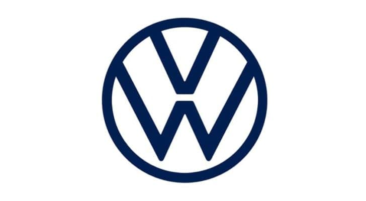 The Volkswagen logo is shown against a white background.