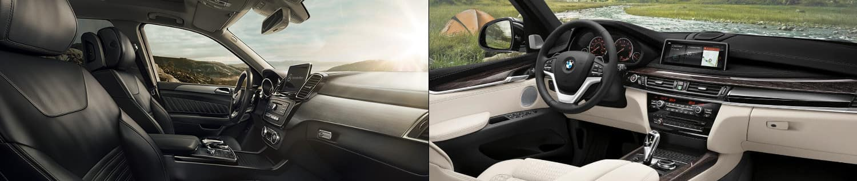 2018 Mercedes-Benz GLE SUV and BMW X5 Interior