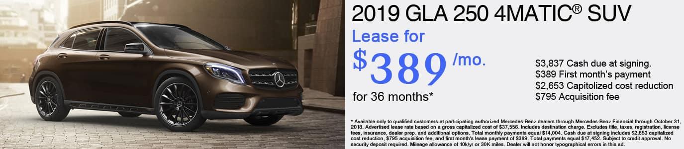 2019 Mercedes-Benz GLA 250 Lease Offer