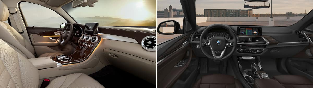 2019 Mercedes-Benz GLC and BMW X3 Interior
