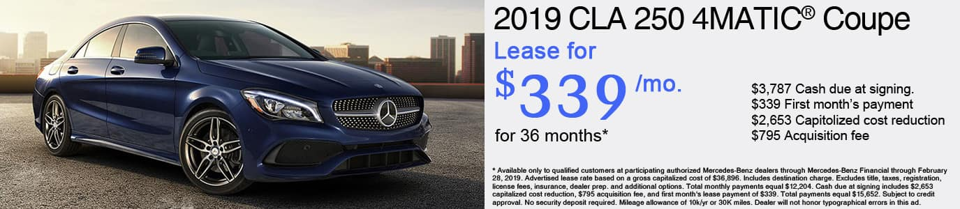 2019 Mercedes-Benz CLA250 Lease Offer