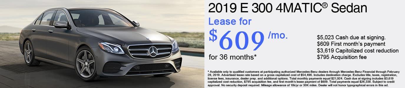 2019 Mercedes-Benz E300 Lease Offer