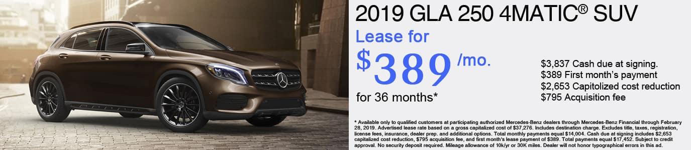 2019 Mercedes-Benz GLA250 Lease Offer