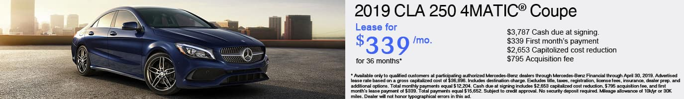 2019 Mercedes-Benz CLA250 Lease Offer