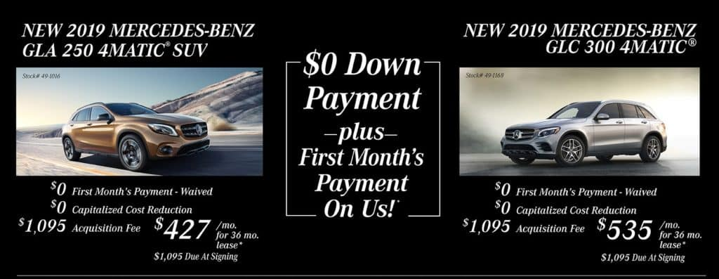$0 Down Payment Plus First Month's Payment On Us!