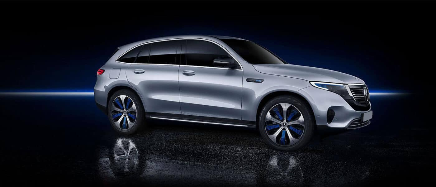 2021 Mercedes-Benz EQC 400 4MATIC SUV exterior in dark with with lightstreak