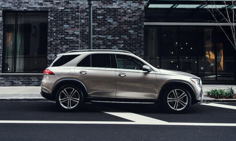 2020 Mercedes-Benz GLE SUV exterior parked on street outside of shop