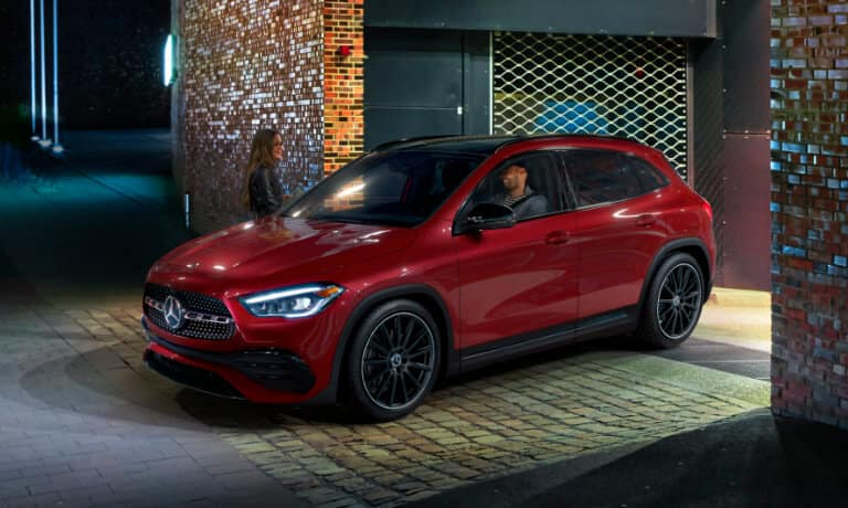 2021 Mercedes-Benz GLA SUV exterior at night exiting parking garage