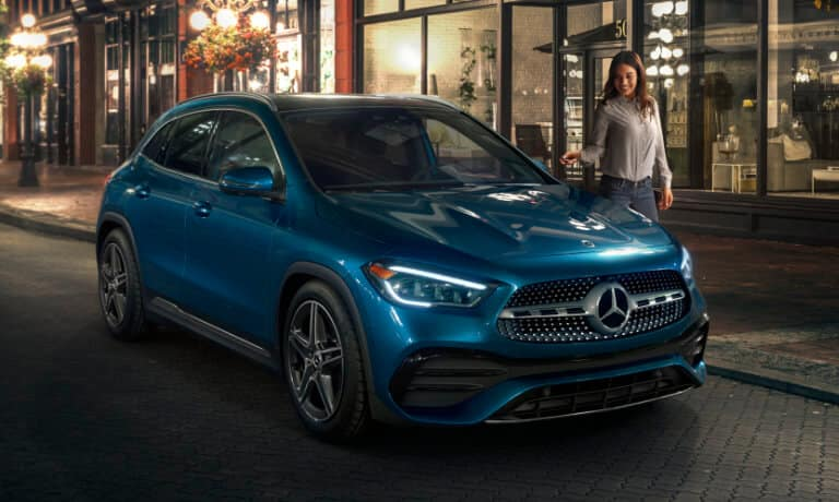 2021 Mercedes-Benz GLA SUV exterior outside shop at night