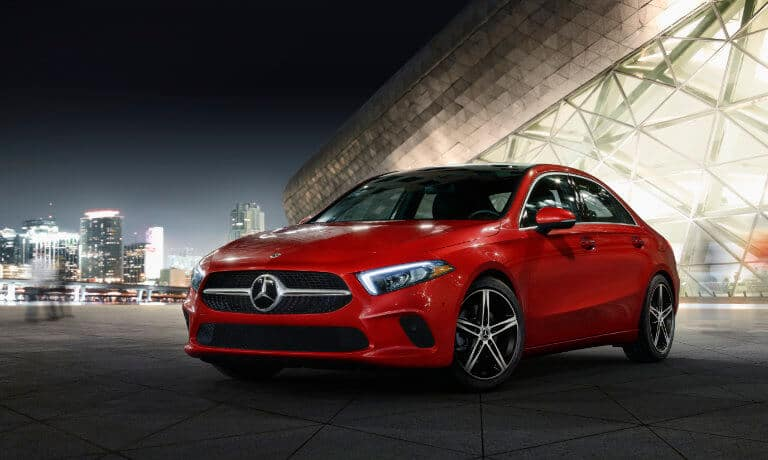 2021 Mercedes-Benz A-Class exterior outside glass building at night