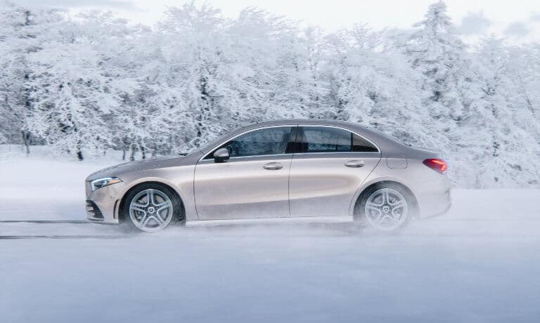 2021 Mercedes-Benz A-Class Sedan eterior driving in snow