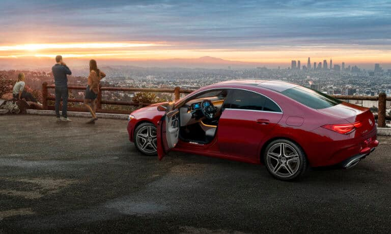 2021 Mercedes-Benz CLA Coupe exterior family looking at skyline