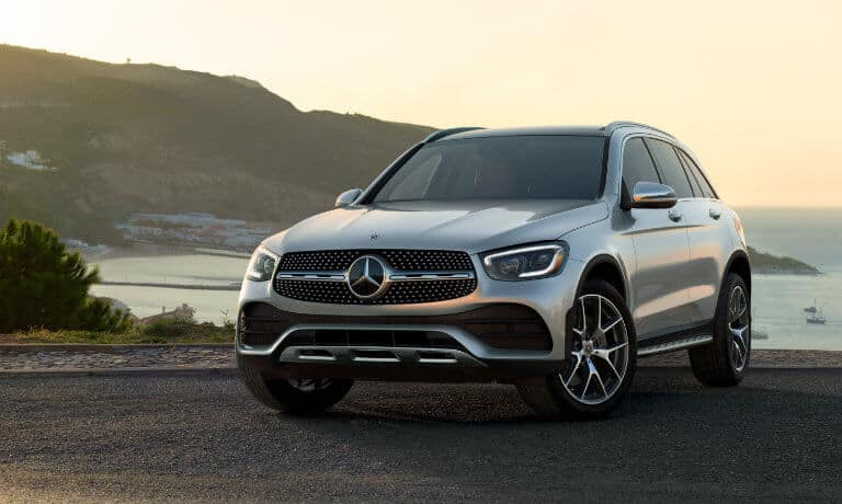 2021 Mercedes-Benz GLC SUV exterior coast at sunset