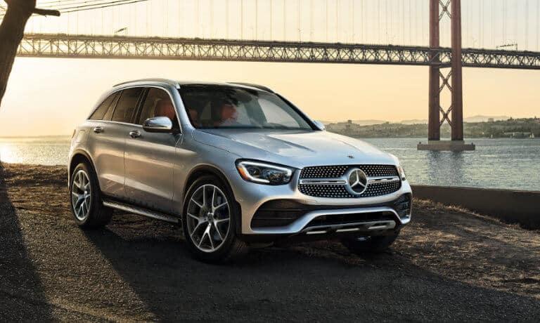2021 Mercedes-Benz GLC SUV exterior in front of bridge at dusk