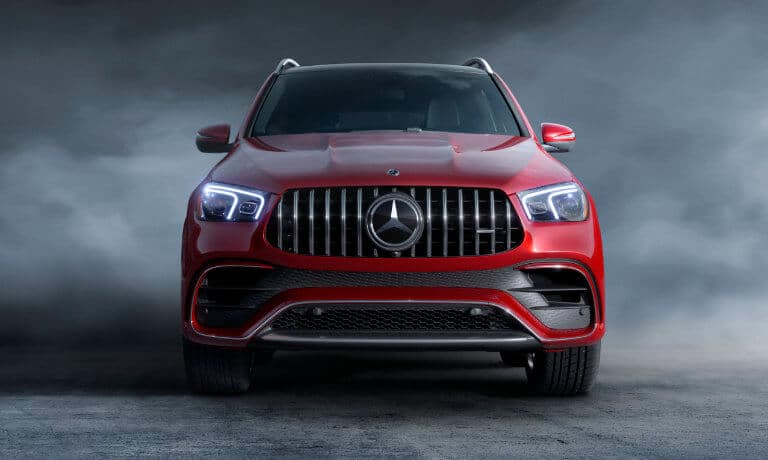 2021 Mercedes-Benz GLE SUV exterior head on in smoke